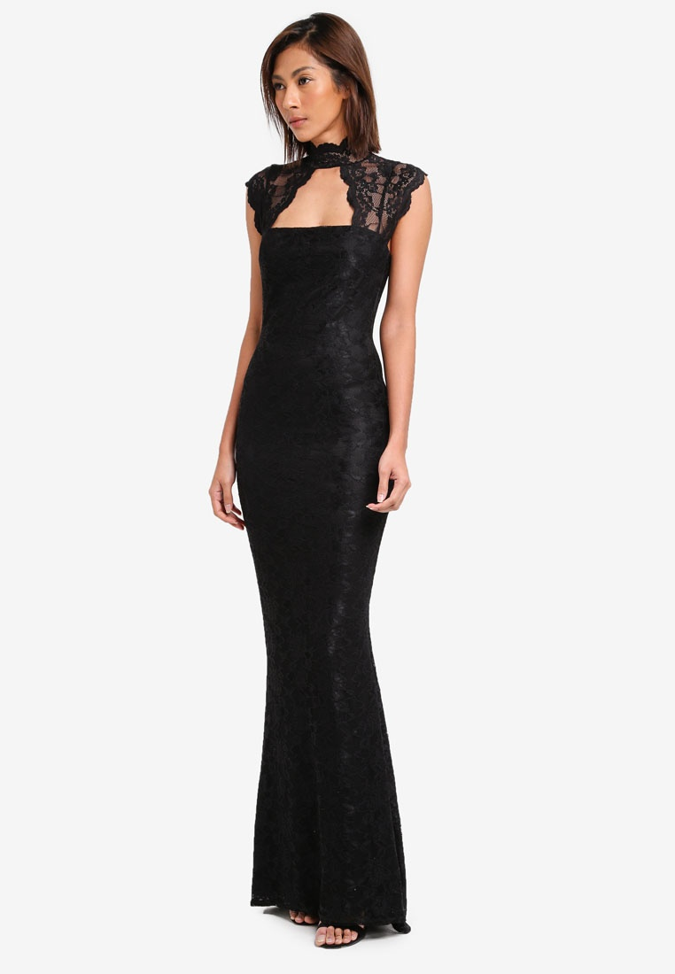 Goddiva Black Maxi Neck Out Dress Lace Cut High TpwfA4cqZx