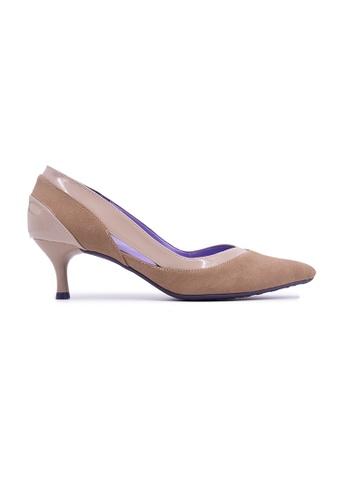 Flatss & Heelss by Rad Russel beige Two-tone Kitten Heels - Beige CFCF2SH7030B08GS_1
