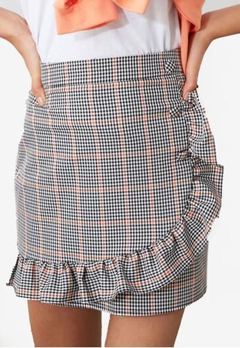 Trendyol grey Frilly Button Detail Mini Skirt 9662AAA670BFA4GS_1