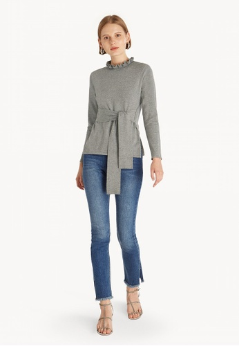a289fde52746 Pomelo grey Ruffled Neck Front Tie Sweater - Mid Grey B2220AA1CAC23FGS 1