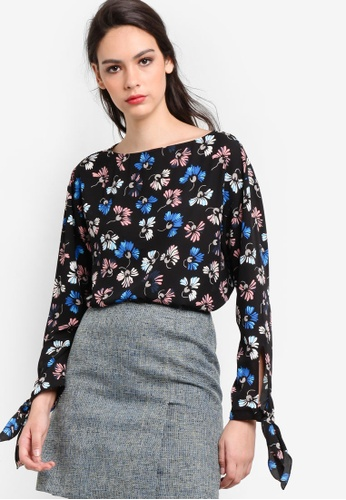 WAREHOUSE black Dandy Flower Tie Sleeve Top WA653AA15SNKMY_1