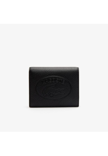 Lacoste black Lacoste Women's Croco Crew Grained Leather Snap Wallet NF2974NL 8BC48AC3578115GS_1