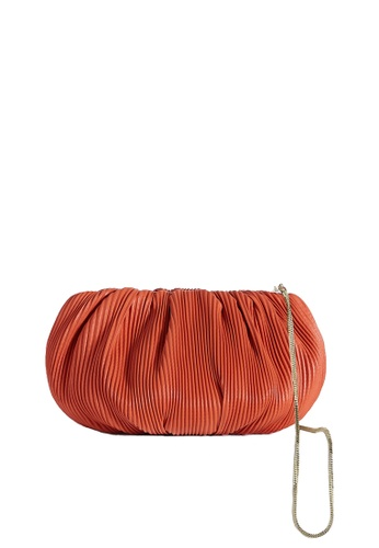 LINGWU orange LINGWU Bubble Large Corrugated Orange Clutch 38648AC1C1DB59GS_1