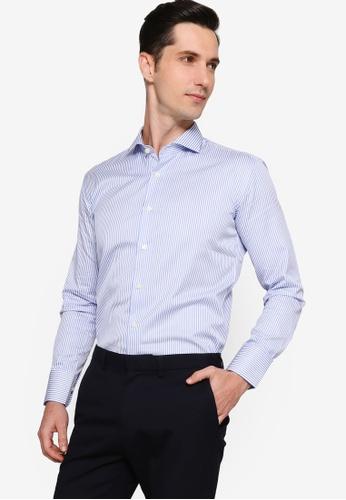 Sacoor Brothers blue Men's Striped Dublin Shirt F7D3FAADAB5C1FGS_1