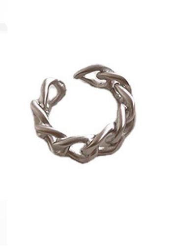 Sunnydaysweety silver Twist Pattern C-Shape Ring CA030217SV 3A057AC360966CGS_1