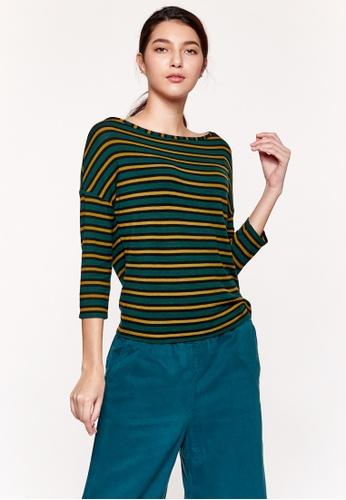 Sisley yellow Striped T-shirt 2BA32AA0C7DE0FGS_1