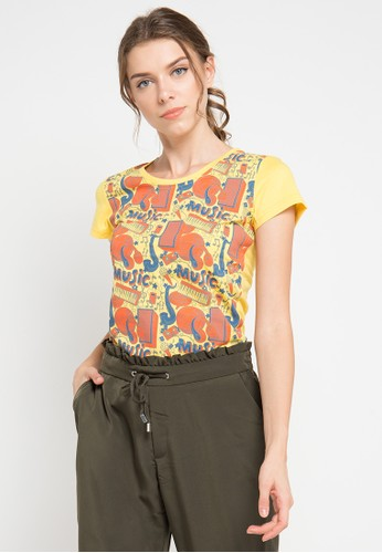 MEIJI-JOY yellow and multi Print Music short sleeve Tshirt ME642AA0VRK8ID_1