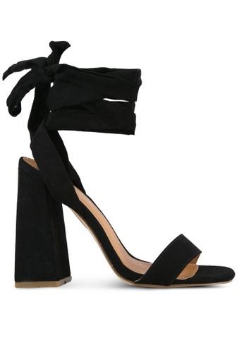 Public Desire black Honesty Wrap Around Heeled Sandals PU378SH0S9O7MY_1