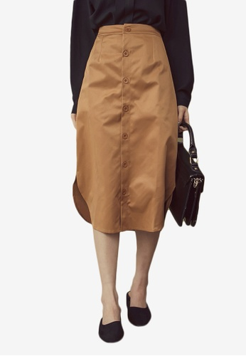 Kodz brown Buttoned Skirt with Round Hem 8A499AA03BF829GS_1