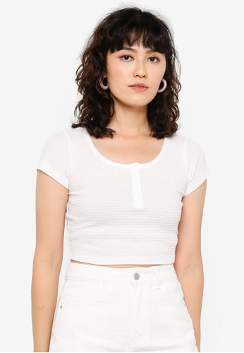 Urban Revivo white Fitted Top 077C3AA43F4654GS_1