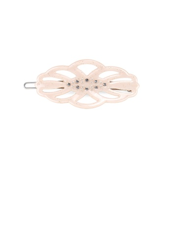 Glamorousky white Fashion and Simple Light Pink Hollow Leaf Hair Clip with Cubic Zirconia C19F9AC7EAF2C3GS_1