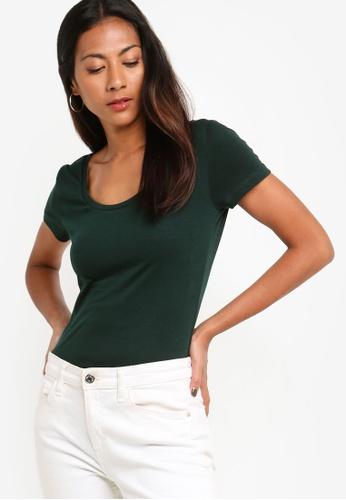 ZALORA BASICS green Basic Deep Neck T-Shirt 28F0AAAD707BF9GS_1