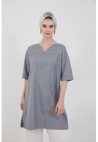 Berrybenka Label grey Prisca A-line Dress Grey D664FAAE55EC53GS_1