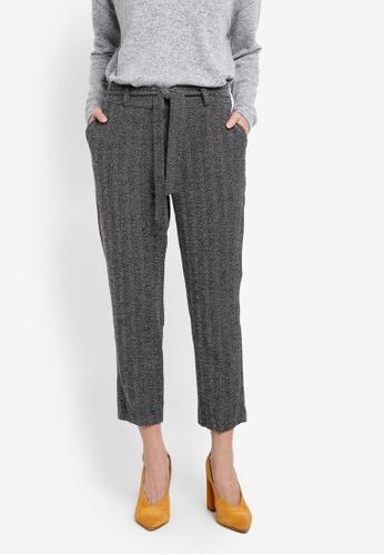 Dorothy Perkins grey Petite Herringbone Tie Waist Ankle Grazer Trousers DO816AA0T04FMY_1