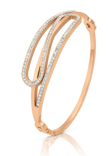 SO SEOUL gold Harper Intertwined with Austrian Crystal Rose Gold Hinged Bangle 8B0ABACD00E6C7GS_1