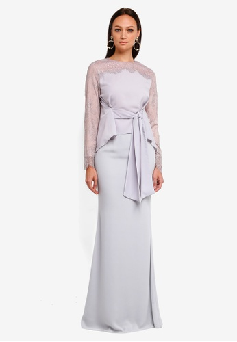 Lilian Tie Kurung from YADOTSA for ZALORA in Grey