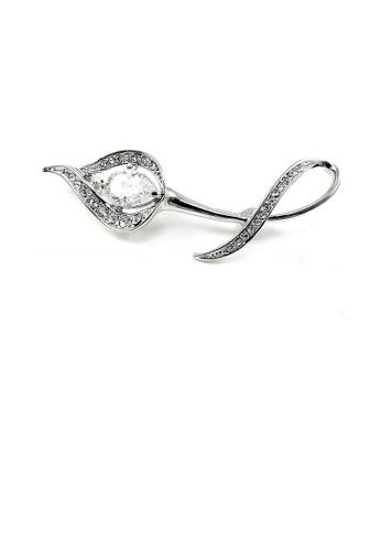 Glamorousky silver Elegant Flower Brooch with Silver Austrian Element Crystal 50C5BAC2D3E290GS_1