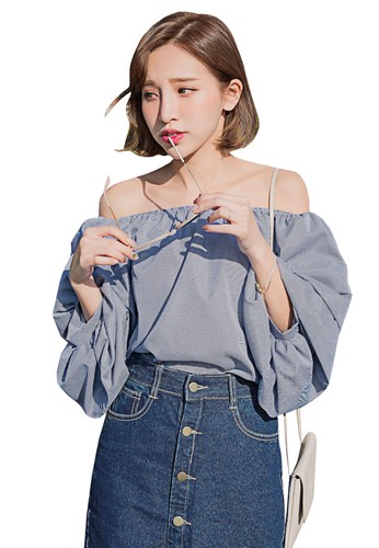 Tokichoi navy Ruched Sleeves Off Shoulder Gingham Top 96AF6AA74F6405GS_1