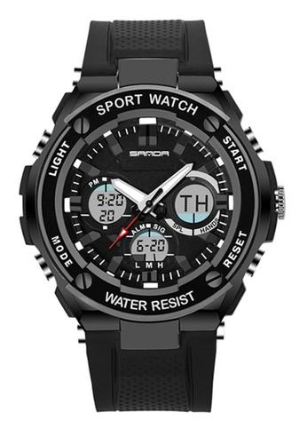 SANDA black SANDA 733 Waterproof Outdoor Multifunctional Sports Men's Quality Shockproof Digital Watch (Full Black) SA708AC0RX1YMY_1