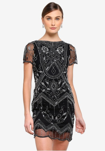Frock and Frill black Fabia Cap Sleeved Embellished Dress C351EAA74FA7BBGS_1