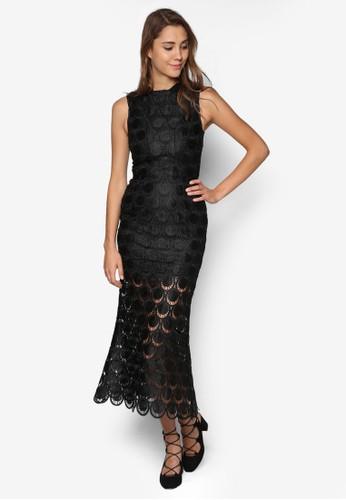 Avrily 修身蕾絲高領長洋裝, 服飾esprit outlet, 洋裝
