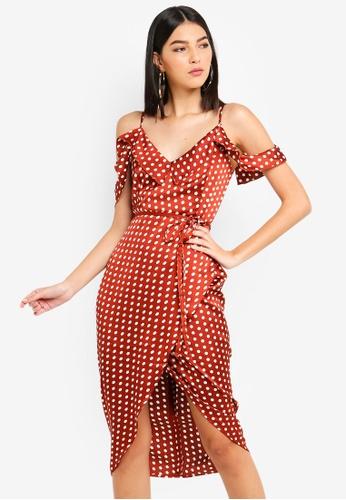 MISSGUIDED brown Spot Print Satin Frill Midi Dress 3D3C3AA8C059A8GS_1