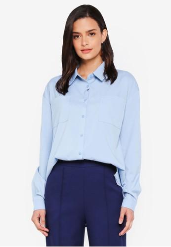 Lubna blue Draped Shirt 20388AA7AF1B90GS_1