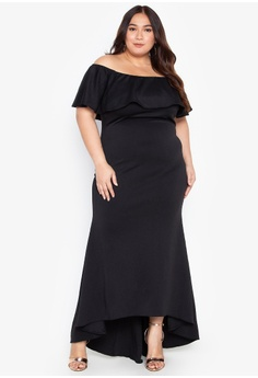 dfb999d6fc6b Ashley Collection Plus black Plus Size Off Shoulder Frills High Slit Maxi  Dress DF7E1AA0388818GS 1
