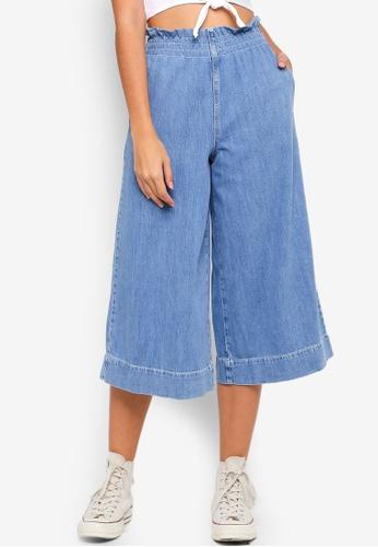 TOPSHOP 藍色 Moto Bleach Shirred Waist Jeans FD551AA5B8086DGS_1
