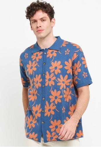 Noir Sur Blanc blue and multi Men Lounge Shirt 56A23AA226AC0AGS_1