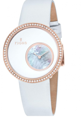 Fjord white Fjord HELGA FJ-6001-03 Women's White Genuine Leather Strap Watch 04B40AC6376DD5GS_1