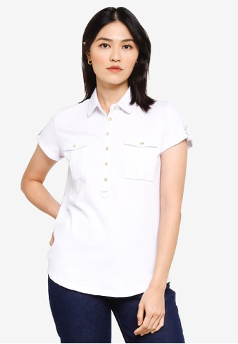 Sacoor Brothers white Women's Sports Slim Fit Polo Piqué 70000AA18E9F8DGS_1
