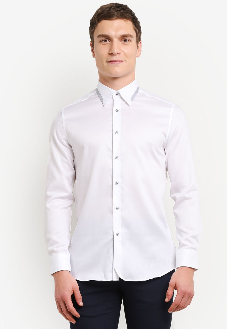 Shirt G2000 White Sleeve Long Detail Cotton Collar Ixqg46BI