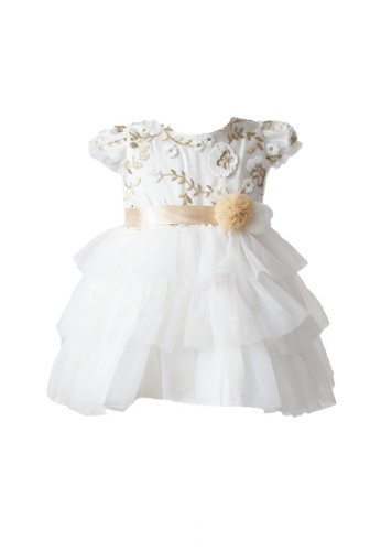 Pretty Girl Collection white and gold Madelia Flower Dress 2FA4BKA33C514AGS_1