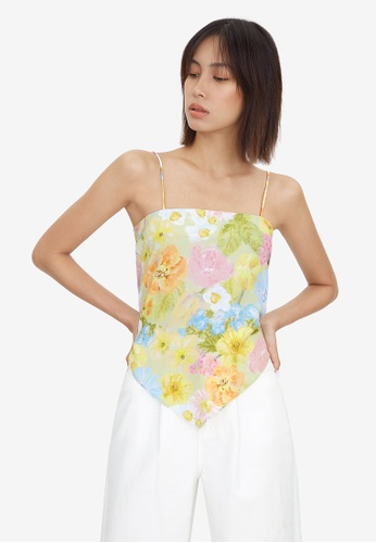 Pomelo green Floral Tie Back Cami Top - Green F19ABAAEC2A190GS_1