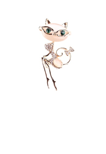 Glamorousky white Simple and Cute Plated Gold Cat Opal Brooch with Cubic Zirconia 0D45BAC2CDDF95GS_1