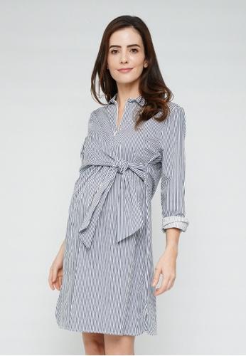 9months Maternity blue Dark Blue Wrap Nursing Shirt Dress C24D2AADC6494EGS_1