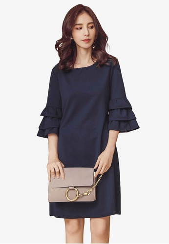 22e4c23a9168 Shop Kodz Crew Neck Tiered Ruffle Sleeve Dress Online on ZALORA Philippines