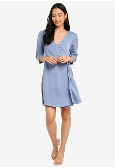 412c038c20 10% OFF ZALORA 3 4 Sleeves Wrap Dress RM 105.00 NOW RM 94.90 Sizes XS S M L  XL