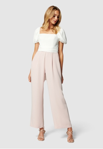 Forever New white and pink Marg Square Neck Petite Jumpsuit C9D05AA6D2EDCAGS_1