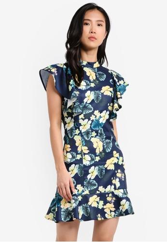 ZALORA navy Ruffle Sleeve Dress 6AE49AA8FB054AGS_1