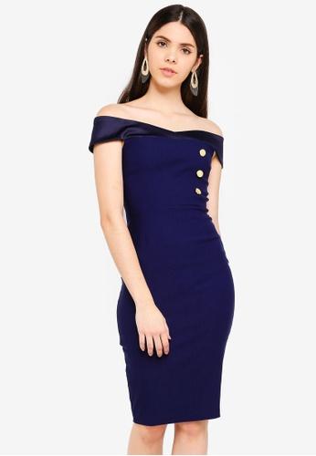Vesper navy Vesper Claire Bardot Dress With Buttons 2755AAAA8952F5GS_1