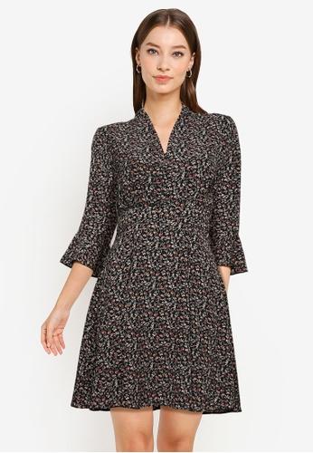 ZALORA WORK black and multi Fluted Sleeves Mini Dress 05566AA8F78A72GS_1