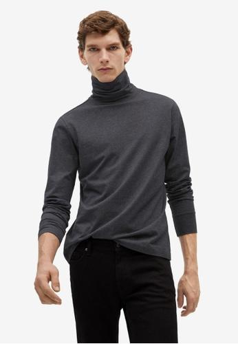 MANGO Man 灰色 Turtleneck Cotton T-Shirt 47A66AA568E6B5GS_1