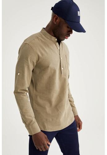 DeFacto grey Long Sleeve Slim Fit Cotton Shirt F6B3CAAB2C3964GS_1
