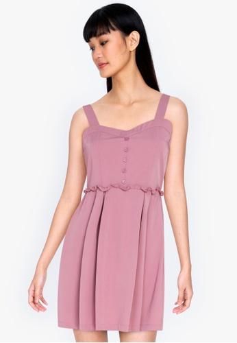 ZALORA BASICS pink Sweetheart Neckline Mini Dress 6E613AAC22E8DEGS_1