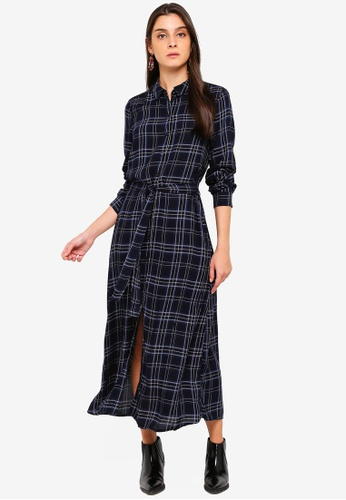 Vero Moda navy Cille Long Sleeve Shirt Dress 9A630AAAD83D65GS_1