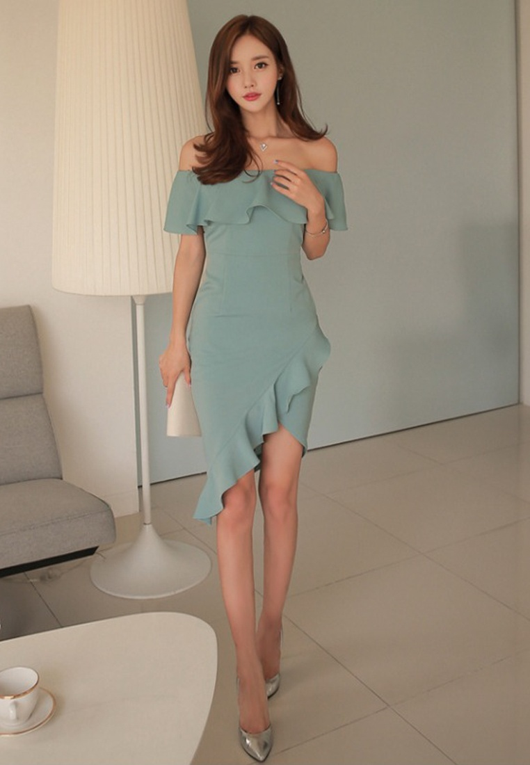 Style One Light New A060423 Off Green Sunnydaysweety Piece Sweetheart 2018 Green Shoulder Dress wOaBqIx6