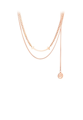 Glamorousky silver Fashion Simple Plated Rose Gold Smiley Face 316L Stainless Steel Multi Layer Necklace 9972FAC85F8CD0GS_1