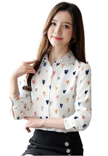 Halo beige Heart Printed Long Sleeves Blouses 52901AA6E4C62DGS_1